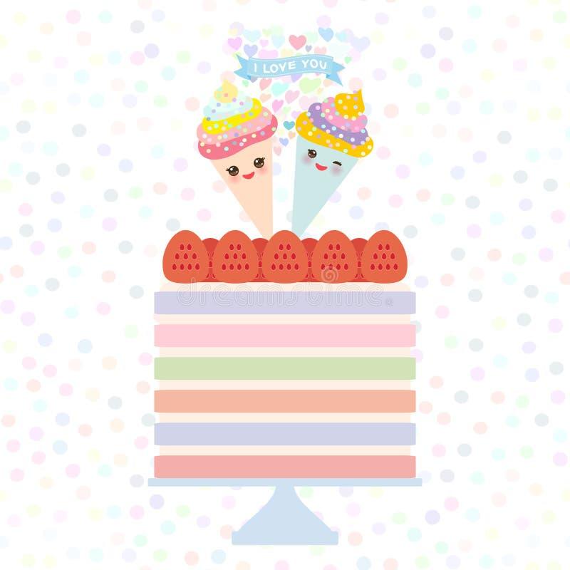 De Verjaardag van het kaartontwerp, valentijnskaart` s dag, huwelijk, overeenkomst De zoete Aardbeicake, Kawaii-de kegel roze wan vector illustratie