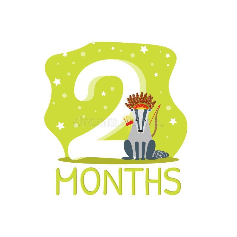 De Verjaardagsaantal van de de tweede Maandverjaardag en Leuke Etnische Gevormde Wasbeer Dierlijke Vectorillustratie stock illustratie