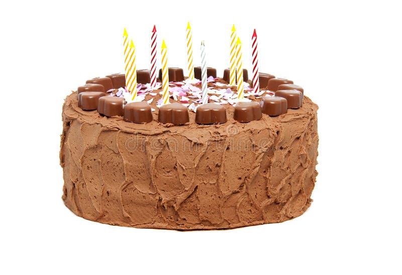 De verjaardagscake van de chocolade met kaarsen royalty-vrije stock foto's