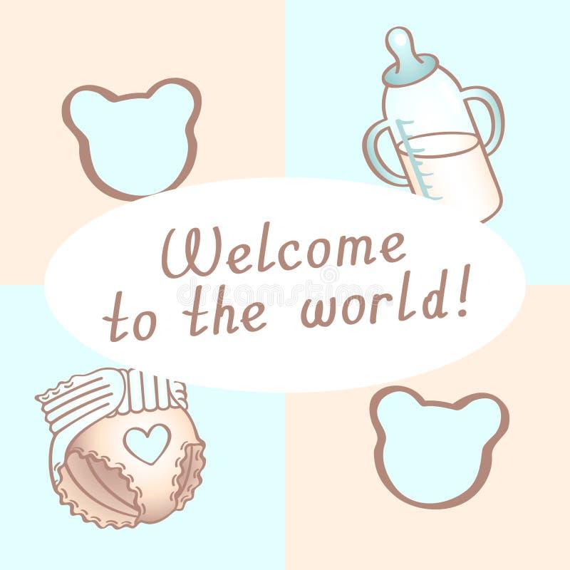 De verjaardagskaart van de babyjongen, douchekaart, uitnodigingskaart, groetkaart, affiche Onthaal aan de Wereld vector illustratie