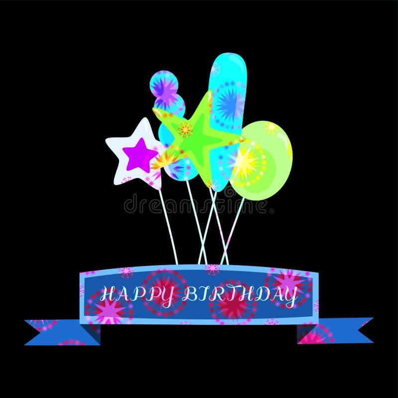 De Verjaardagskaart Van T.L.-verlichting Stralende Psychedelische ...