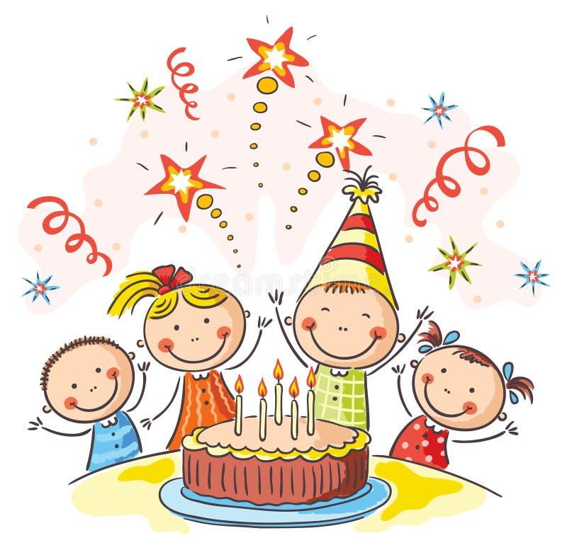 De verjaardagspartij van jonge geitjes vector illustratie