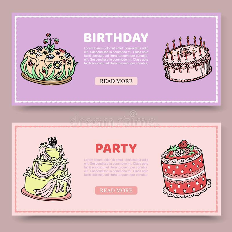 De verjaardagspartij of de vectorreeks van de huwelijksverjaardag banners met verjaardagscakes op lelie en nam achtergrond toe Po vector illustratie