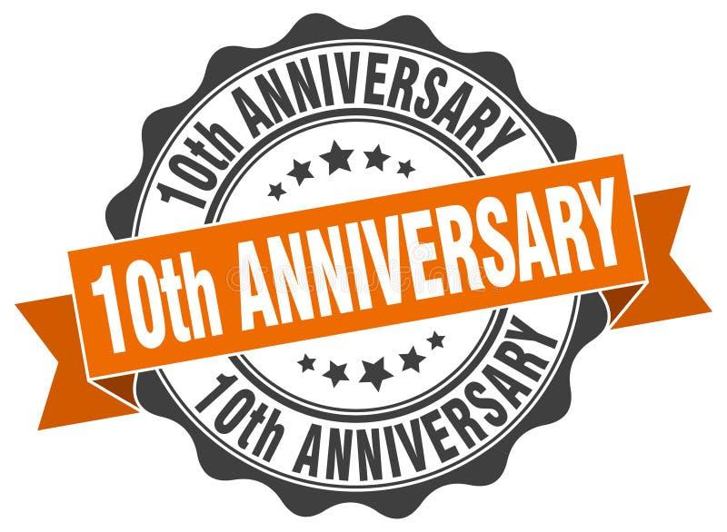 10de verjaardagsverbinding zegel vector illustratie
