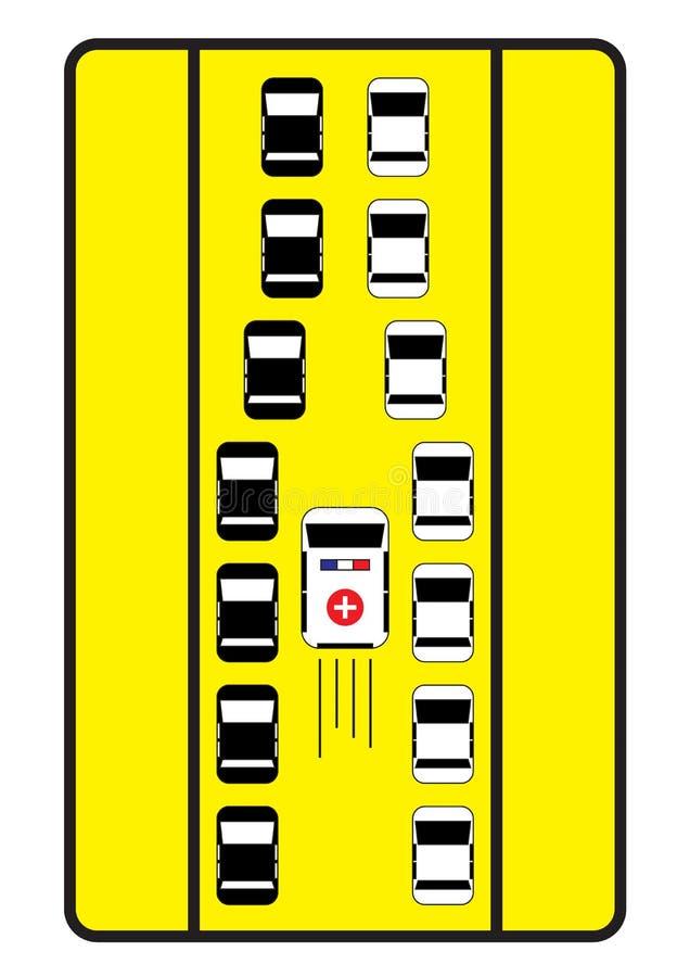 De verkeersteken adviseren auto's om middenweg aan ziekenwagen te geven royalty-vrije stock foto's