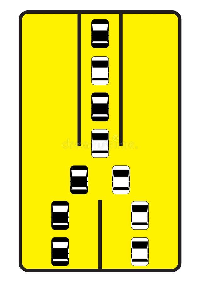 De verkeersteken adviseren auto's om zich één voor één te bewegen. stock fotografie