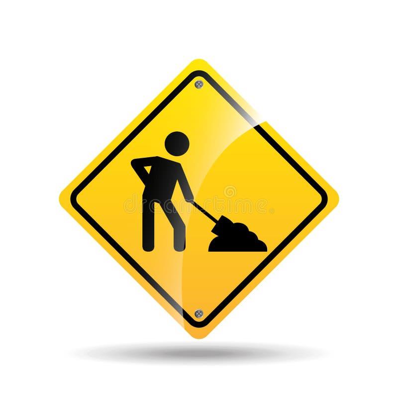 De verkeersteken ontwerpen in aanbouw pictogram vector illustratie