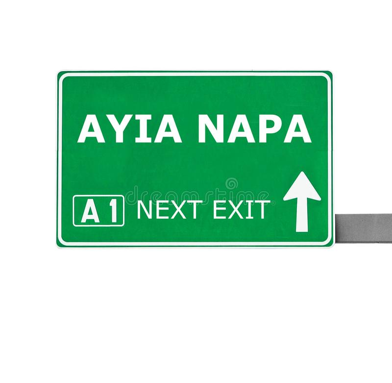De verkeersteken van AYIA NAPA op wit worden geïsoleerd dat royalty-vrije stock foto