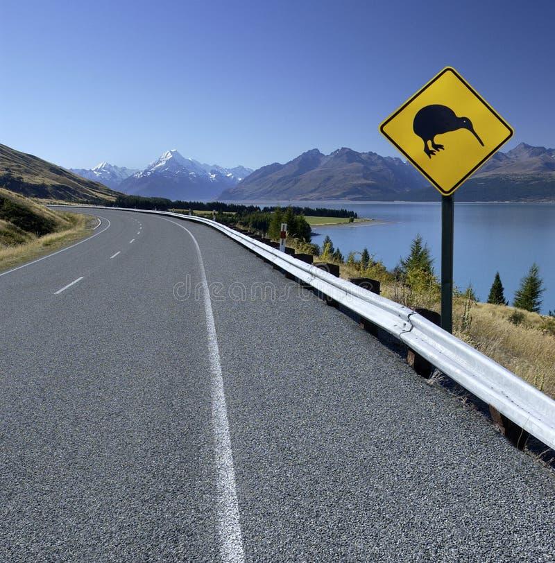De Verkeersteken van de kiwi - Nieuw Zeeland - MT Cook stock afbeeldingen