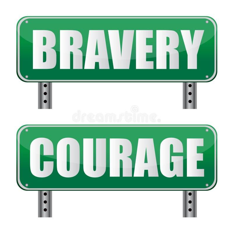 De verkeersteken van de moed & van de Moed vector illustratie