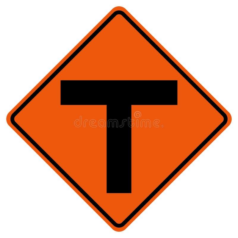 De Verkeersteken van het T-kruisingsverkeer, Vectorillustratie, isoleren op Witte Achtergrond, Symbolen, Pictogram EPS10 royalty-vrije illustratie