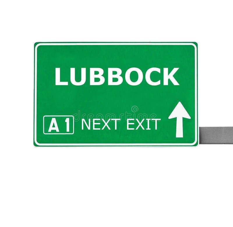 De verkeersteken van LUBBOCK op wit worden geïsoleerd dat royalty-vrije stock fotografie