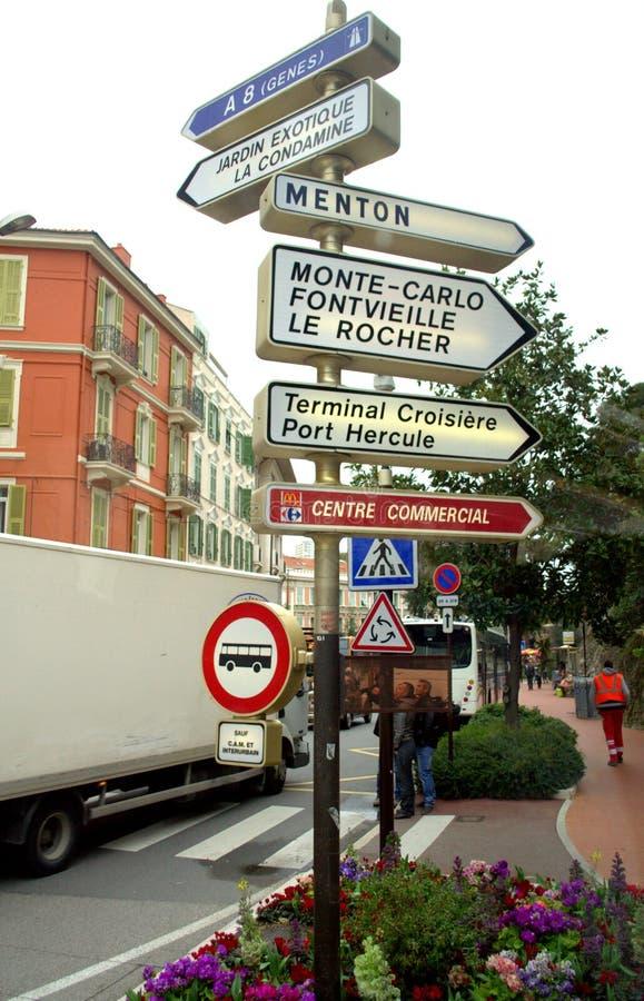 De verkeersteken van Monaco stock afbeelding