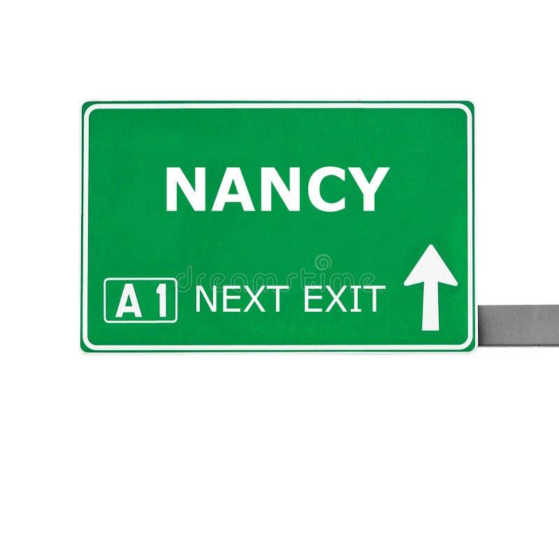 De verkeersteken van NANCY die op wit worden geïsoleerd royalty-vrije stock foto's