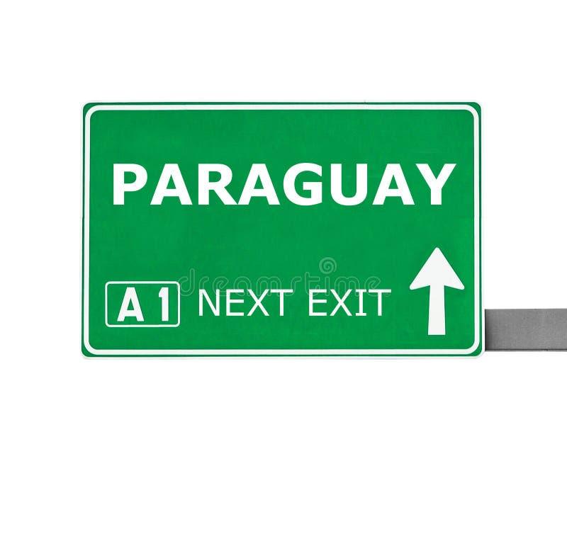 De verkeersteken van PARAGUAY op wit worden geïsoleerd dat royalty-vrije stock afbeeldingen