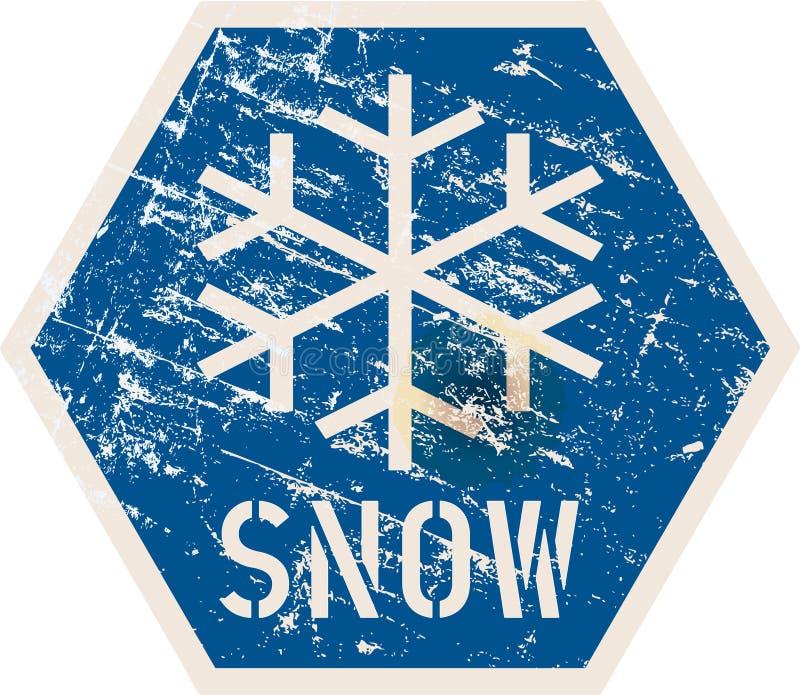 De verkeersteken van de sneeuwwaarschuwing, vectorillustratie, fictief kunstwerk vector illustratie