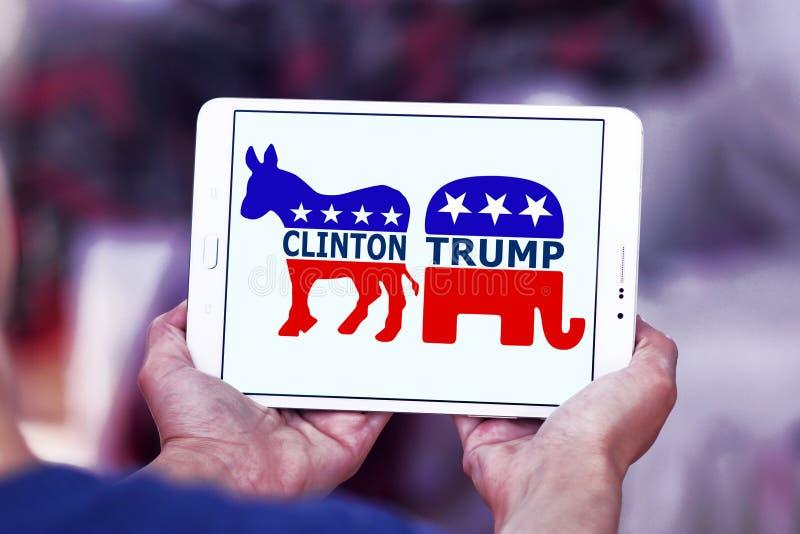 De verkiezing van de V.S. tussen troef en Hillary clinton stock foto's