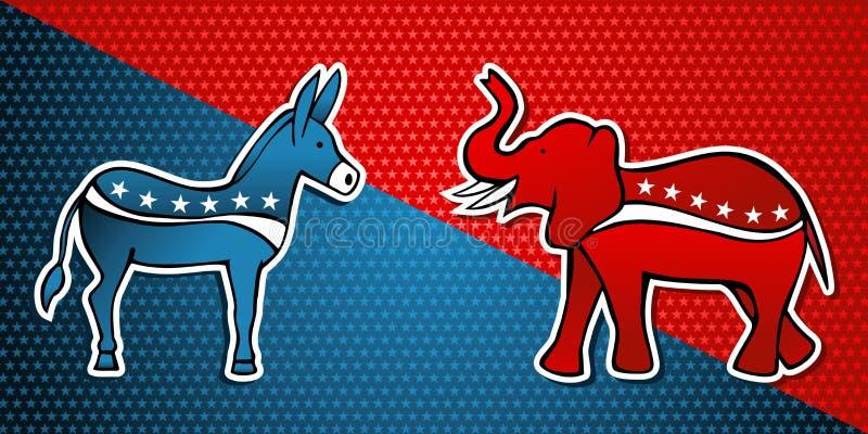 De verkiezingen van de V.S. Democratisch versus Republikeinse partij royalty-vrije illustratie