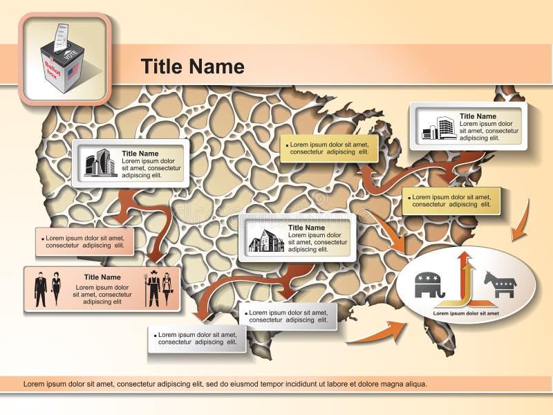 De Verkiezingen van de V.S. - infographic elementen royalty-vrije illustratie