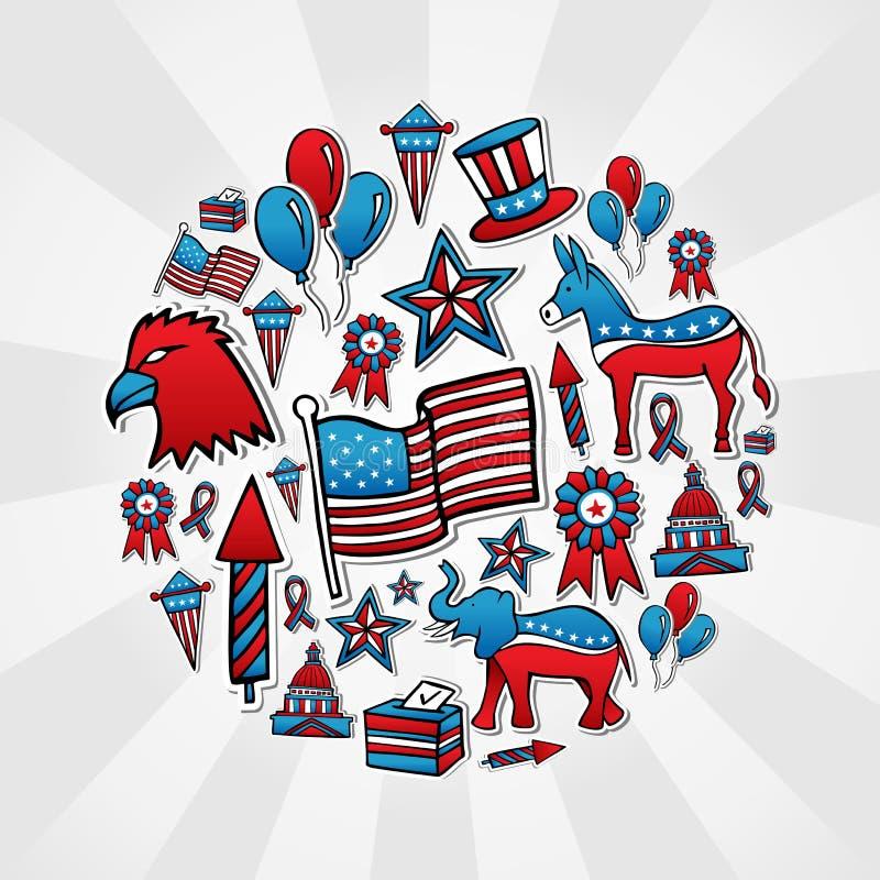 De verkiezingen van de V.S. schetsen stijlpictogrammen royalty-vrije illustratie
