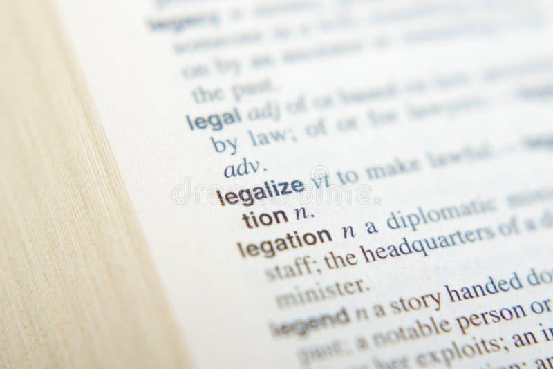 De verklaring van Legalize in woordenboek stock fotografie