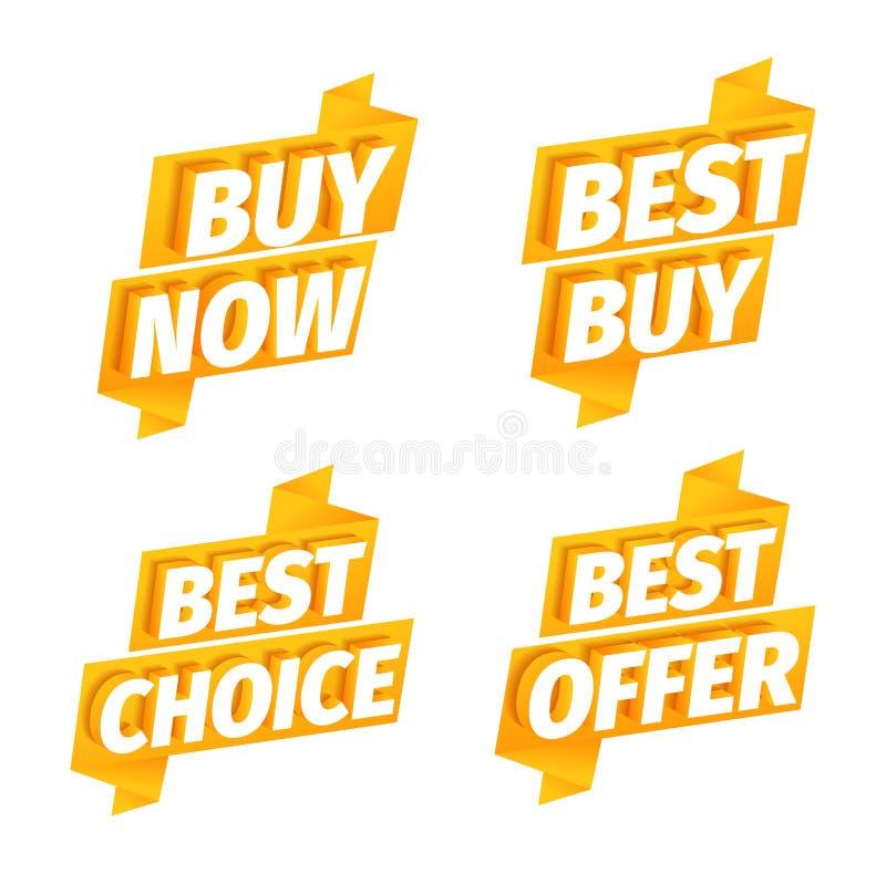 De verkoop biedt de gele reeks van de lintsticker aan Reclamebevordering Koop nu Beste keus 3d brieven op een oranje gouden achte royalty-vrije illustratie