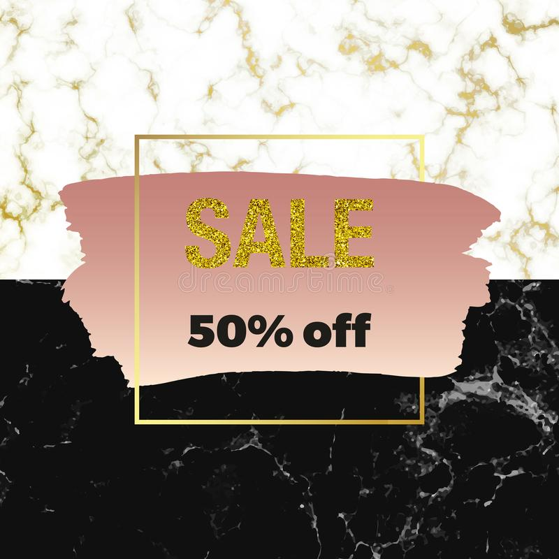 De verkoop borstelen de witte, zwarte marmer van het dekkingsaanplakbiljet of steentextuur en de roze inkt slag, lijn of textuur  stock illustratie