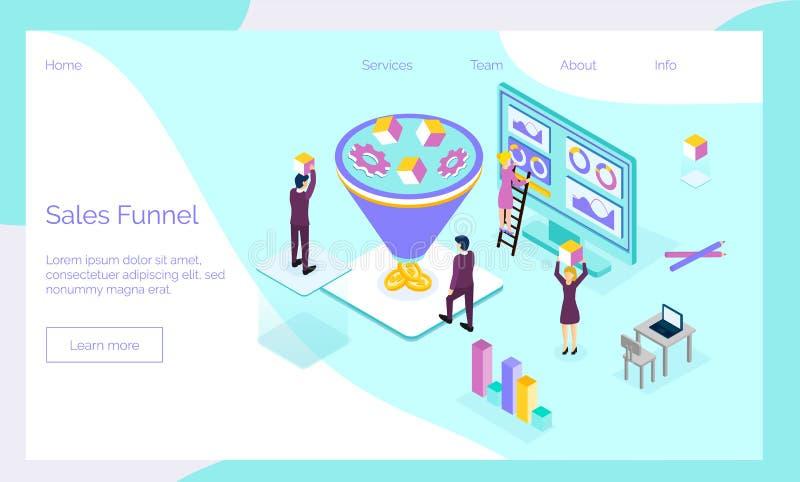 De verkoop concentreert isometrische conceptenvector met uiterst kleine mensen, diagram, muntstukken, toestellen, kubus vector illustratie