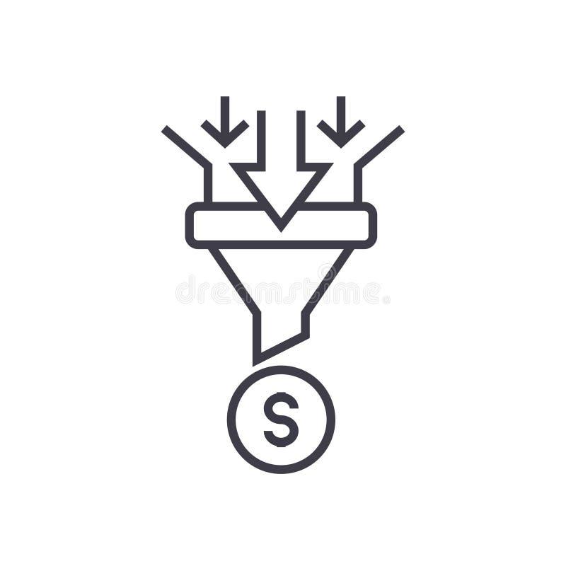 De verkoop concentreert lineair pictogram, teken, symbool, vector op geïsoleerde achtergrond stock illustratie