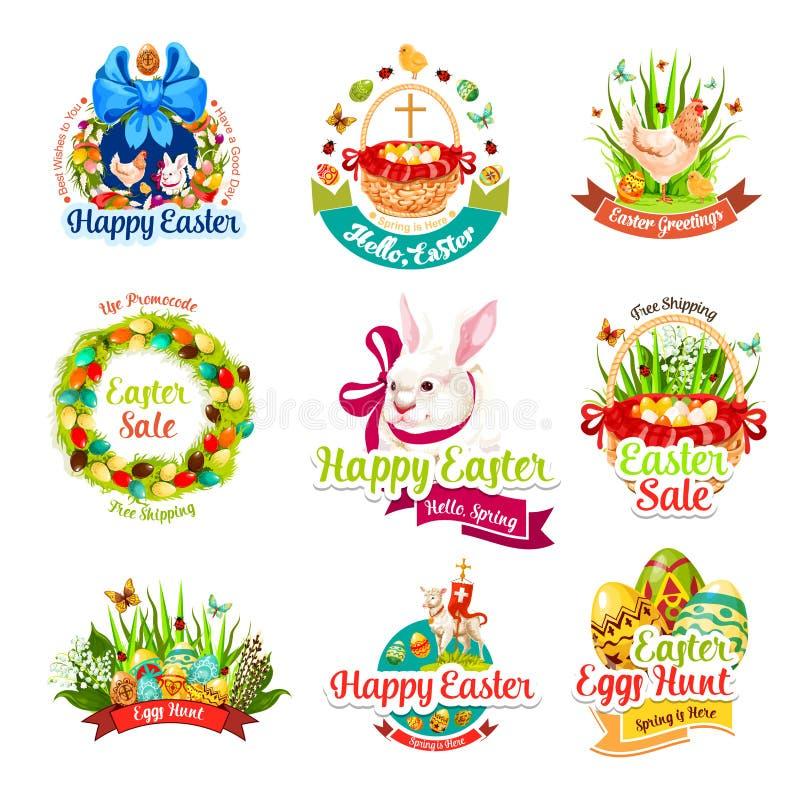 De verkoop en het ei het beeldverhaalpictogrammen van de jachtviering van Pasen stock illustratie
