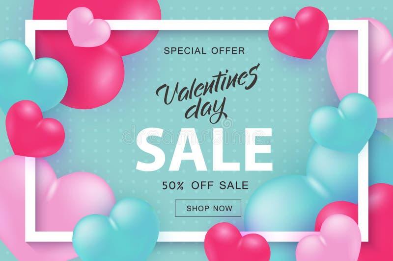 De verkoop en de speciale aanbiedingbanner van Valentine Day met teken in wit kader met harten royalty-vrije illustratie
