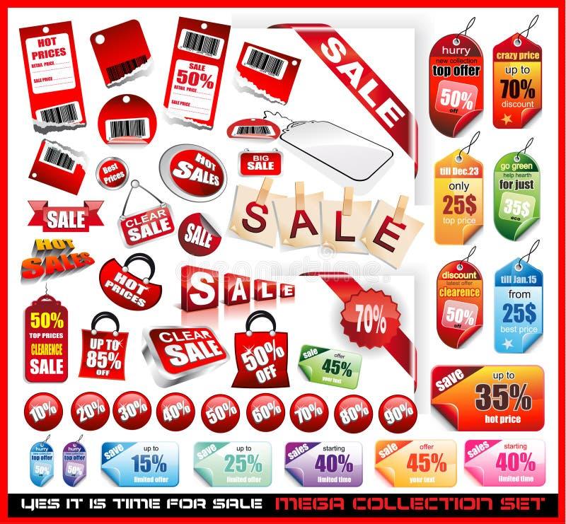 De verkoop etiketteert de MegaReeks van de Inzameling stock illustratie