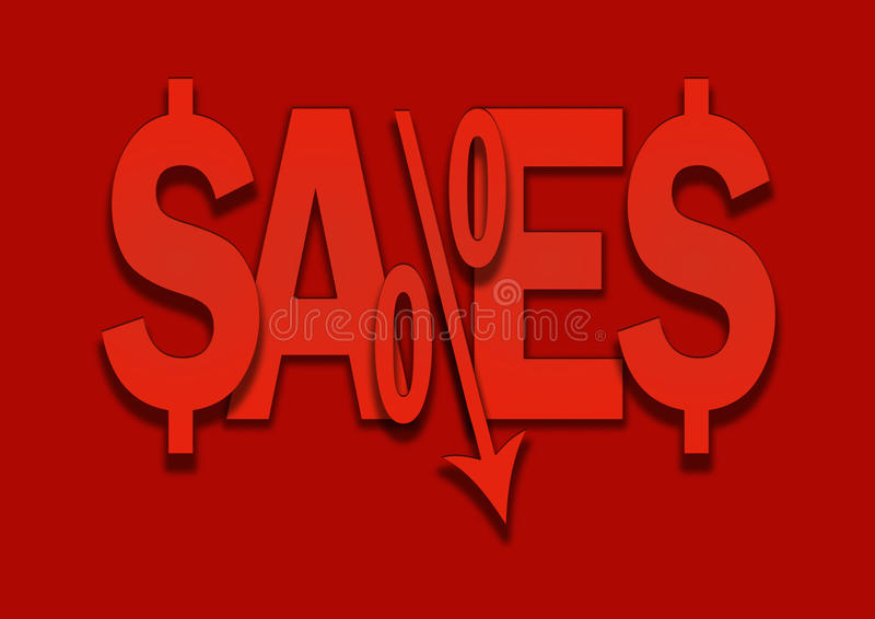 De verkoop onderhandelt de lagere percentenprijs daalt vector illustratie