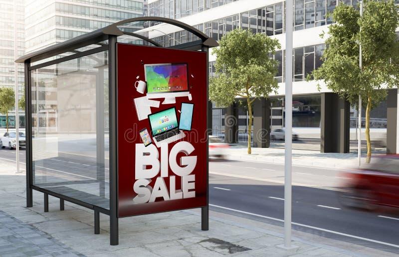 de verkoop van de bushaltetechnologie marketing aanplakbord vector illustratie
