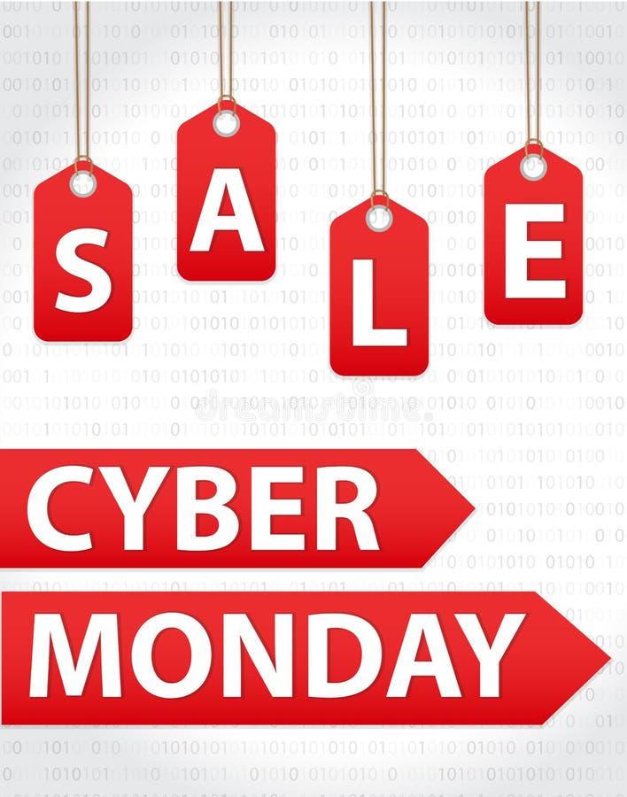 De verkoop van de Cybermaandag, Cyber-kortingen van de Maandag de Super aanbieding De affiche van de Cybermaandag, banner Vector  royalty-vrije illustratie