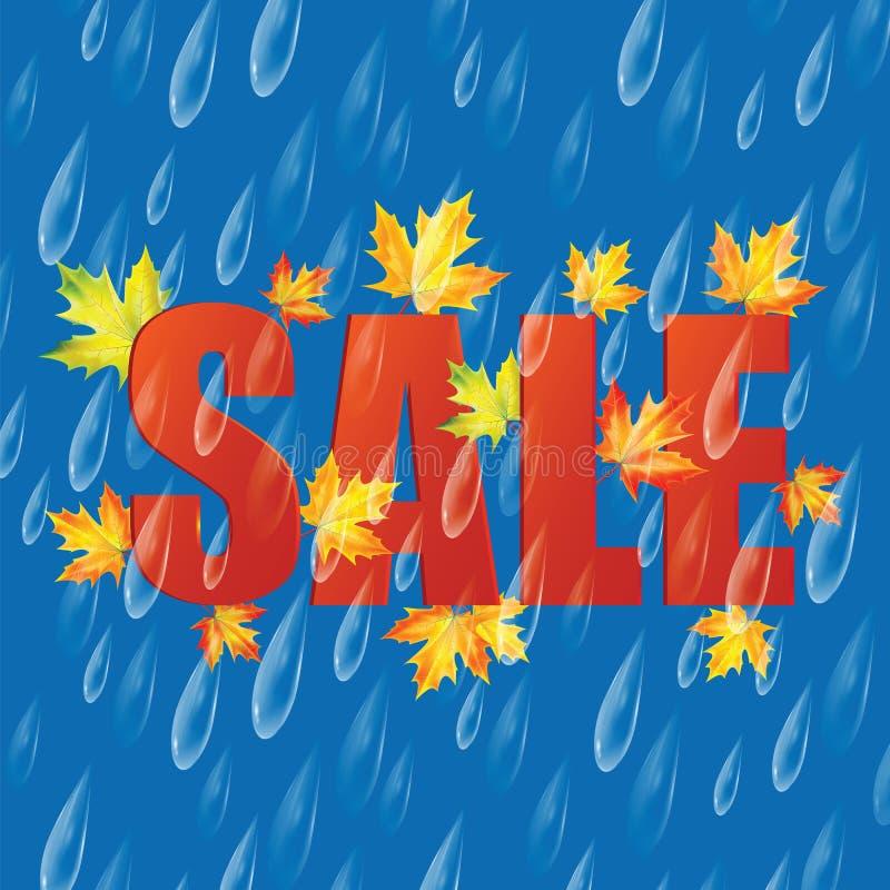 De VERKOOP van de herfst De VERKOOP van Word van rode de herfstbladeren royalty-vrije illustratie