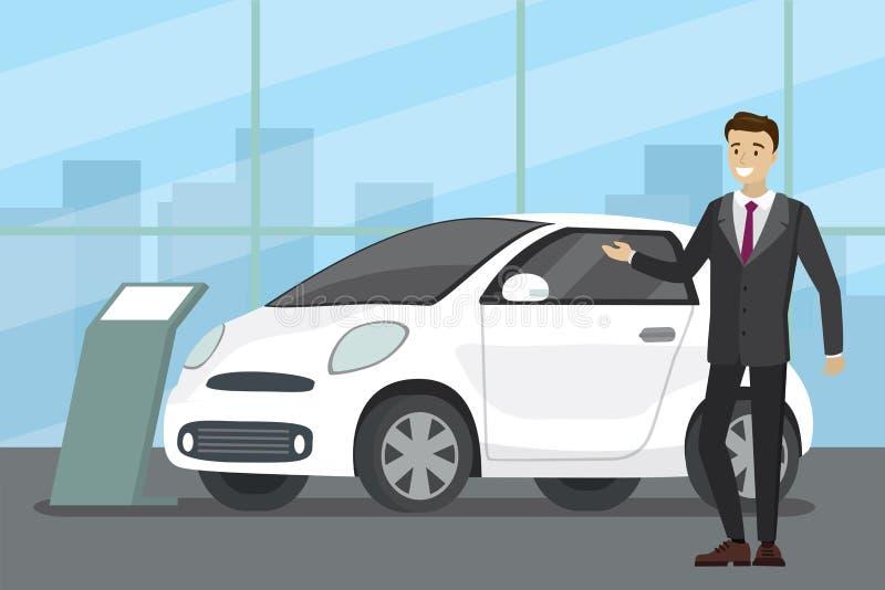 De verkoop van een nieuwe auto, verkoper bij de autotoonzaal toont het voertuig stock illustratie