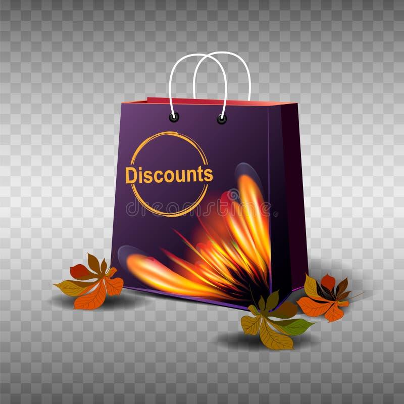 De VERKOOP van de herfst De VERKOOP van Word van rode de herfstbladeren Grafisch purper pakket met een mooie vurige druk, de herf stock illustratie