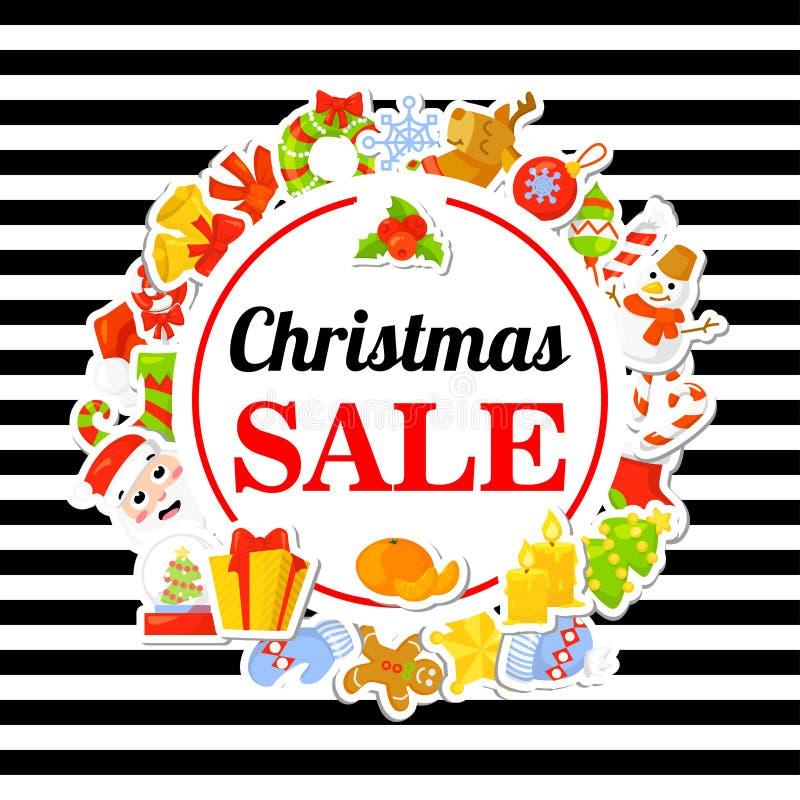 De verkoop van Kerstmis Affiche, banner met stickers De stijl van het beeldverhaal vector illustratie