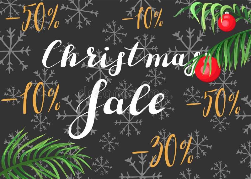 De verkoop van Kerstmis Het van letters voorzien op een donkere achtergrond met palmbladen royalty-vrije illustratie