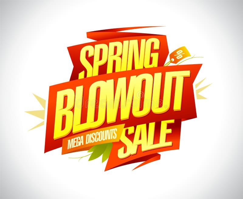 De verkoop van de de lenteuitbarsting, het megaontwerp van de kortingenbanner stock illustratie