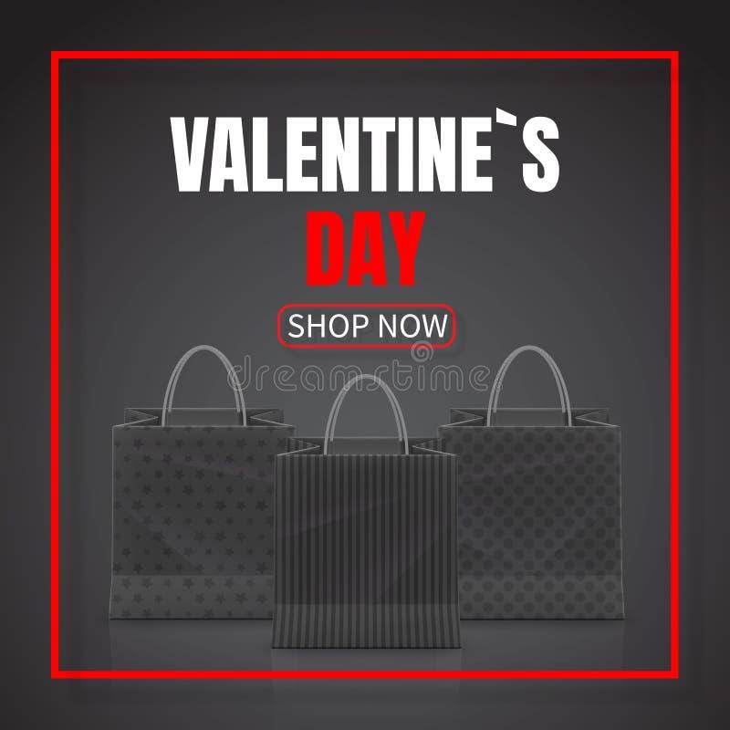 De verkoop van de valentijnskaartendag Realistische die Document het winkelen zak met handvatten op donkere achtergrond worden ge royalty-vrije illustratie