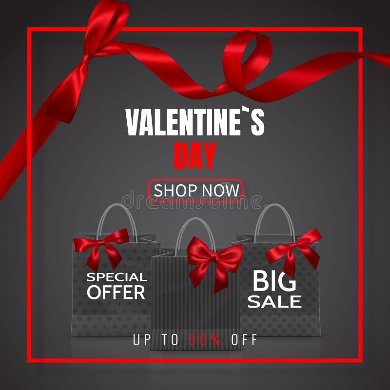 De verkoop van de valentijnskaartendag Realistische Document het winkelen zak met handvatten en rode die boog, lint, op donkere a stock illustratie