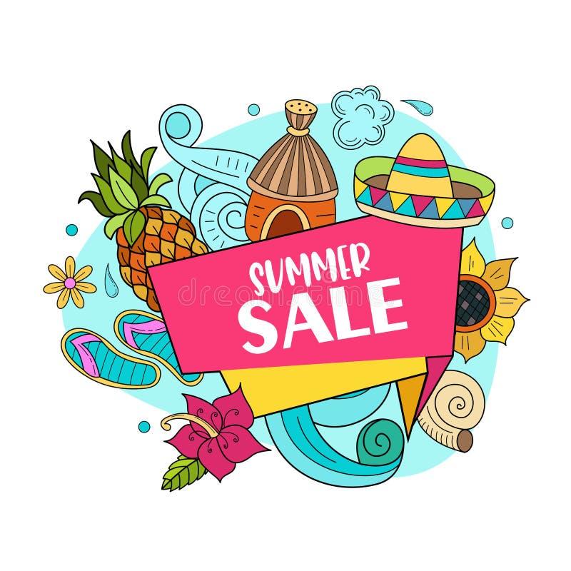 De verkoop van de zomer Heldere kleurrijke reclameaffiche Illustratie binnen stock illustratie