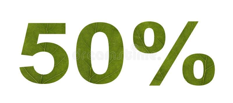 De verkoop van de zomer Korting 50 percenten, wit geïsoleerde achtergrond De textuur van het blad van de boom Banner, vlieger, ui stock foto