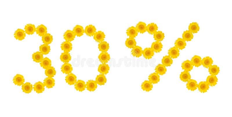 De verkoop van de zomer Korting 30 percenten, wit ge?soleerde achtergrond Symbolen van gele hrezentemy bloemen Banner, vlieger, u stock foto's
