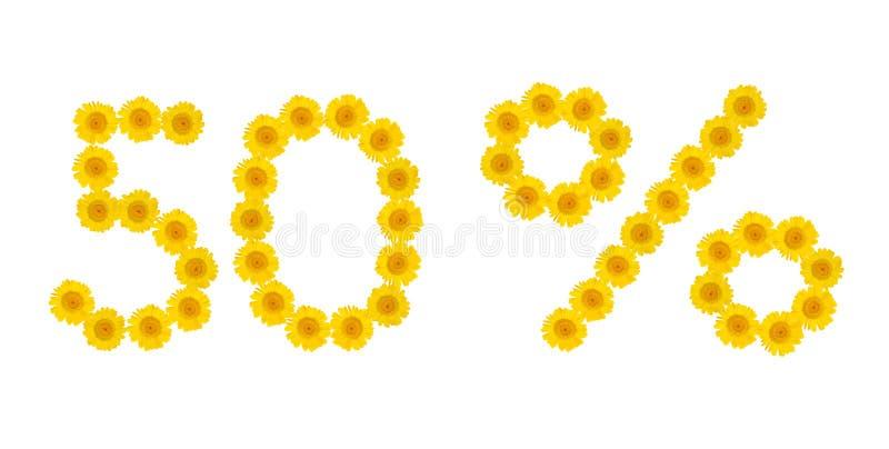 De verkoop van de zomer Korting 50 percenten, wit ge?soleerde achtergrond Symbolen van gele hrezentemy bloemen Banner, vlieger, u stock foto