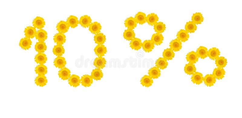 De verkoop van de zomer Korting 10 percenten, wit ge?soleerde achtergrond Symbolen van gele hrezentemy bloemen Banner, vlieger, u royalty-vrije stock afbeeldingen