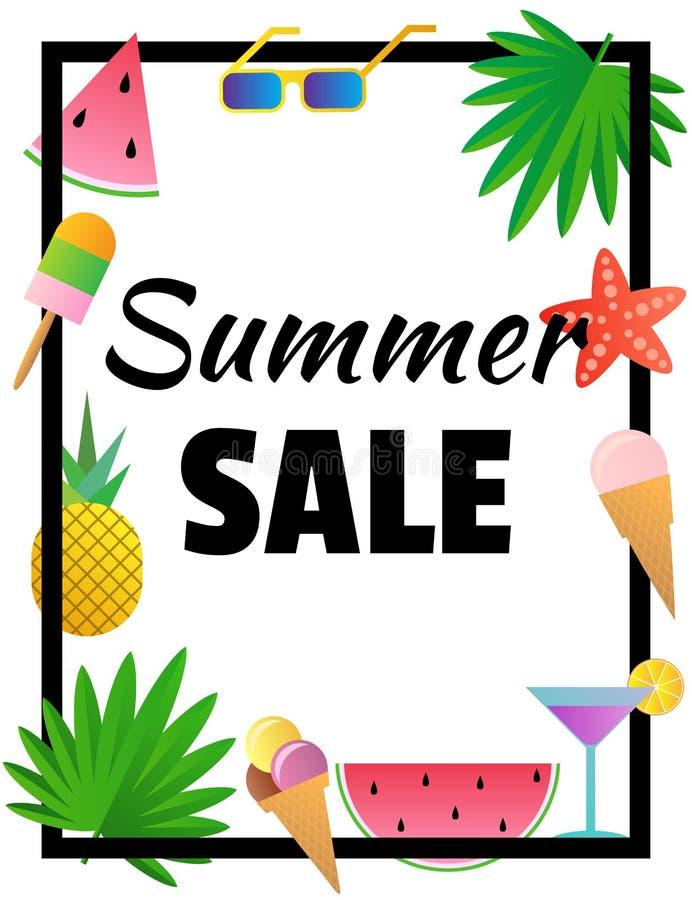 De verkoop van de zomer Malplaatje voor banner of affiche Tekst in het kader royalty-vrije illustratie
