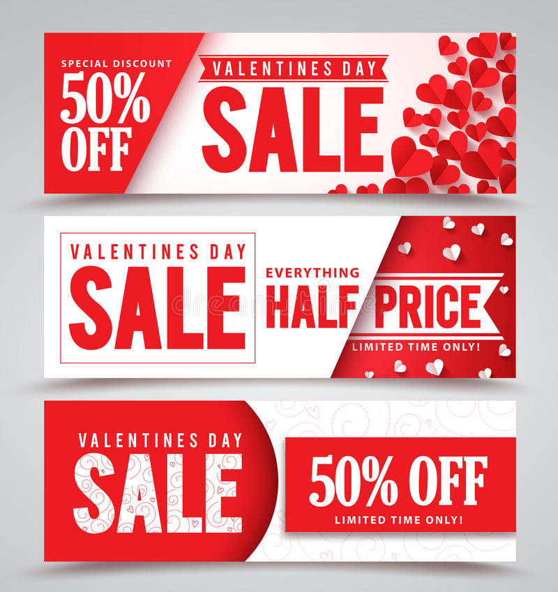 De verkoop vectorbanners van de valentijnskaartendag met verschillende ontwerpen vector illustratie